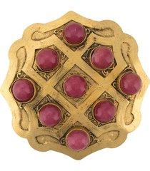 a.n.g.e.l.o. vintage cult 1970s embellished brooch - gold