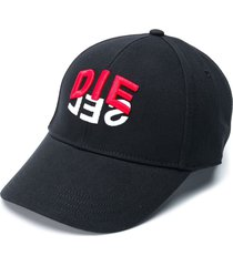 diesel c-dive two-tone logo print cap - black