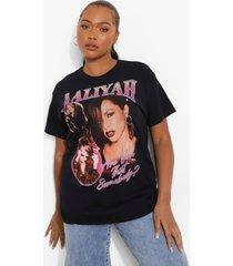 plus gelicenseerd acid wash gebleekt aaliyah t-shirt, charcoal