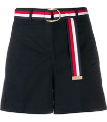 tommy hilfiger belted high-rise shorts - blue