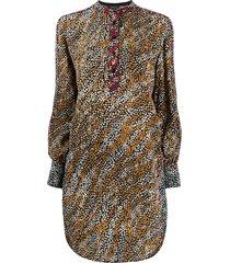 rag & bone button collar floral print silk dress - black