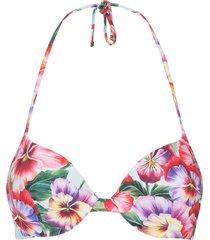 dolce & gabbana violet print bikini top - red
