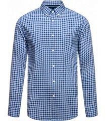 camisa básica a cuadros azul y gris tommy hilfiger