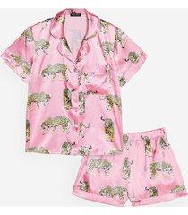 womens cheetahs always prosper satin shorts pajama set - pink
