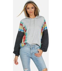 gower le rainbow stripe crop hoodie - rainbow stripe tie dye l