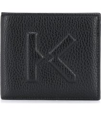kenzo debossed-logo folding wallet - black