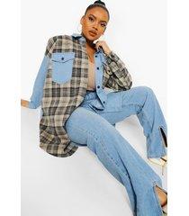 plus geruite spijkerblouse, light blue