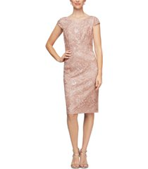 alex evenings sequin embroidered dress