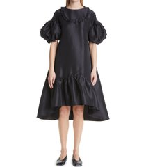 women's kika vargas eline taffeta midi dress, size x-small - black