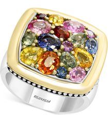 effy multi-sapphire cluster ring (4-3/8 ct. t.w.) in sterling silver and 18k gold
