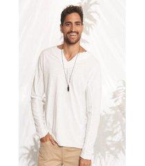 camiseta masculina manga longa decote v branco