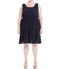 max studio women's smocked stretch-cotton dress - navy - size 2x (18-20)