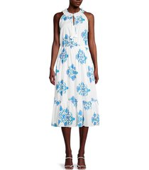for the republic women's floral halter dress - white blue floral - size s