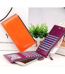 portafolgio untrasottile in pelle pu portafoglio lungo e verticale con 15 card slots