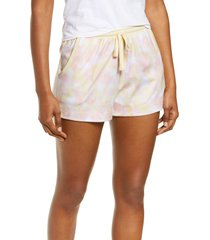 women's z well tie dye sleep shorts, size large - yellow