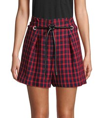 plaid grommet belted shorts