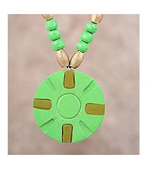 coconut shell pendant necklace, 'green surrounds' (india)