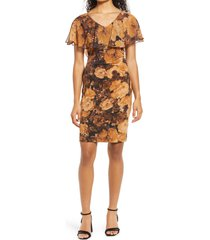 connected apparel floral cape sleeve sheath dress, size 16 in spice at nordstrom