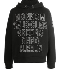moncler grenoble mirrored logo-print hoodie - black