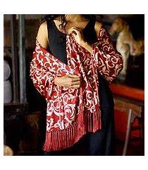 silk batik shawl, 'ruby royale' (indonesia)