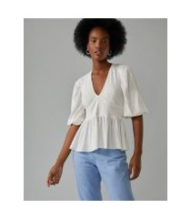 amaro feminino blusa viscose peplum, off-white