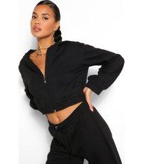 korte mix & match hoodie met zakdetail, zwart