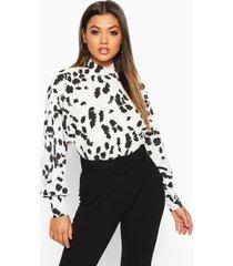 blouse met hoge hals en vlekprint, wit
