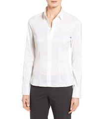 women's boss bashina stretch poplin blouse, size 4 - white