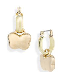 laura lombardi maia butterfly charm hoop earrings in raw brass 14kt gold at nordstrom