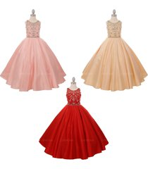 rhinestones and beads delicately embellished long length satin flower girl dress
