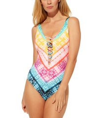 women's bleu by rod beattie good vibrations lattice mio one-piece swimsuit, size 14 - blue/green