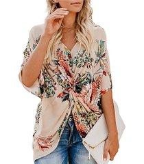kenoce blusa cruzada con medias mangas con cuello en v y estampado floral diseño