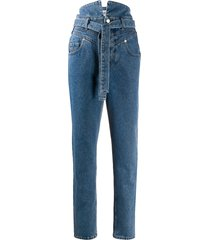 the attico belted slim fit jeans - blue