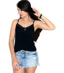 blusa regata up side wear com renda preta