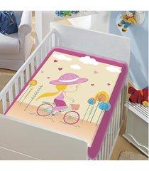 cobertor infantil jolitex tradicional mocinha pedalando rosa bebe feminino