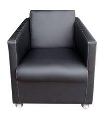 poltrona decorativa tilla plus pés cromado corino preto - ds móveis