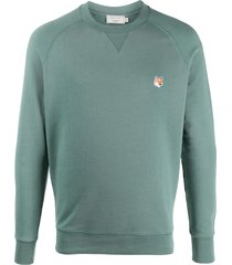 maison kitsuné fox head cotton sweatshirt - green