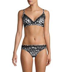mesh-trim printed bikini top