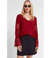 floral lace blouse - red - xl