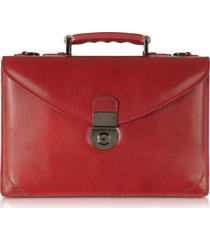 l.a.p.a. designer briefcases, ruby red double gusset leather briefcase