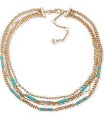 """dkny gold-tone turquoise-colored bead multi-row necklace, 16"""" + 3"""" extender"""