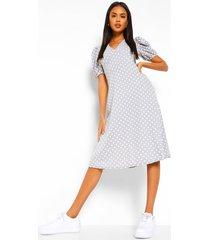 midi jurk met korte mouwen en stippen, lichtgrijs