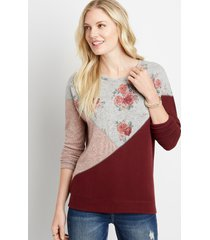 maurices womens floral colorblock straight hem pullover