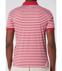 polo ralph lauren men's interlock striped slim fit polo shirt - sunrise red/white - s
