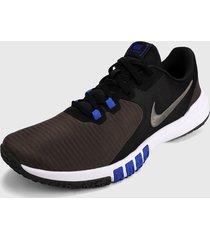 tenis training negro-azul-gris nike flex control 4