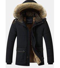 uomo giacca da outdoor imobottita invernale pesante con cappuccio staccabile di peli
