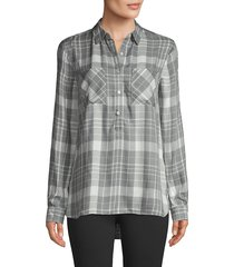 pure navy women's plaid high-low shirt - zinc tartan - size s