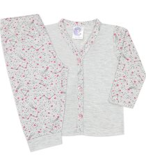 conjunto pijama bebê com botões estrelas mescla - look infantil