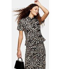 animal print frogging detail blouse - true leopard