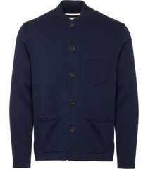 universal works navy merino knit work jacket ref17401